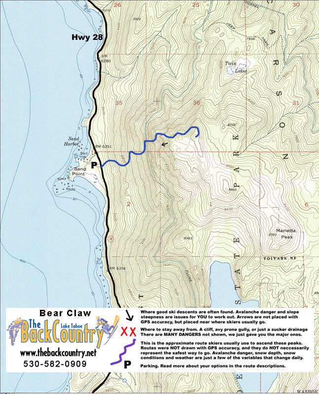 Bear Claw Topo Map
